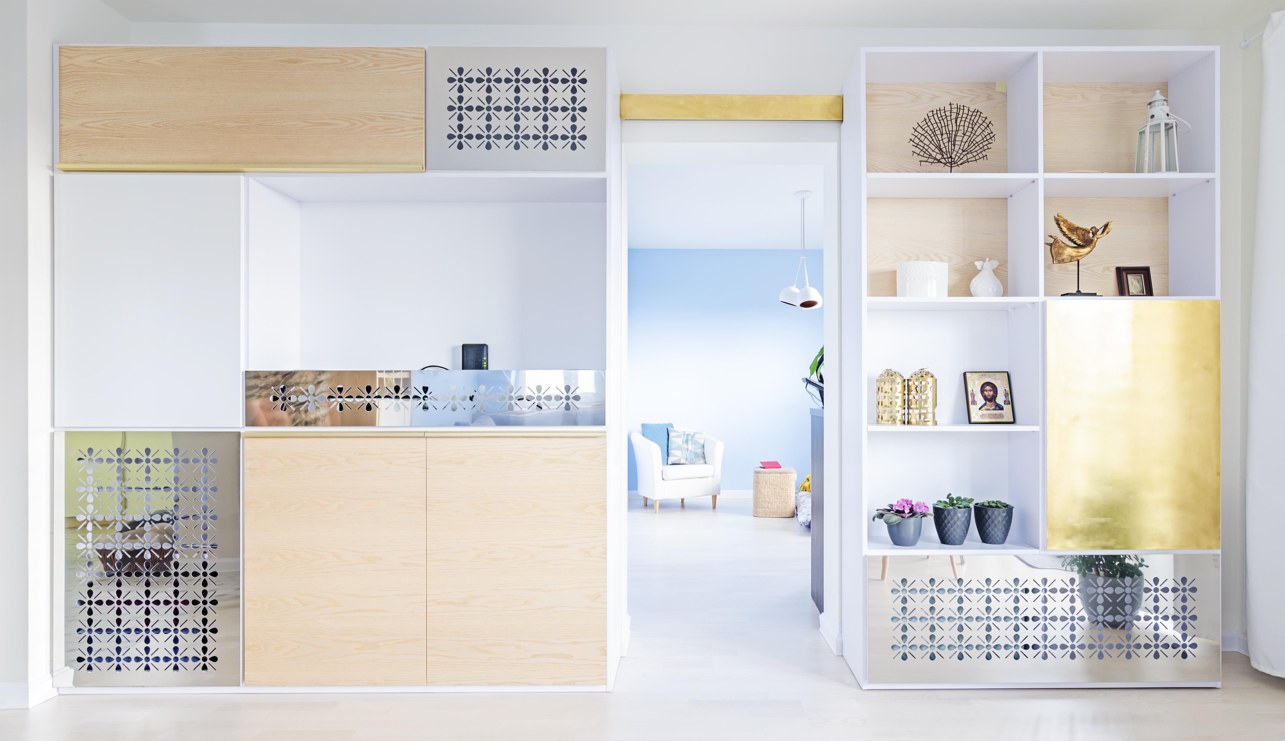regał, złoto i srebro, portfolio, laurowa, mieszkanie, projektowanie wnętrz, łazienka