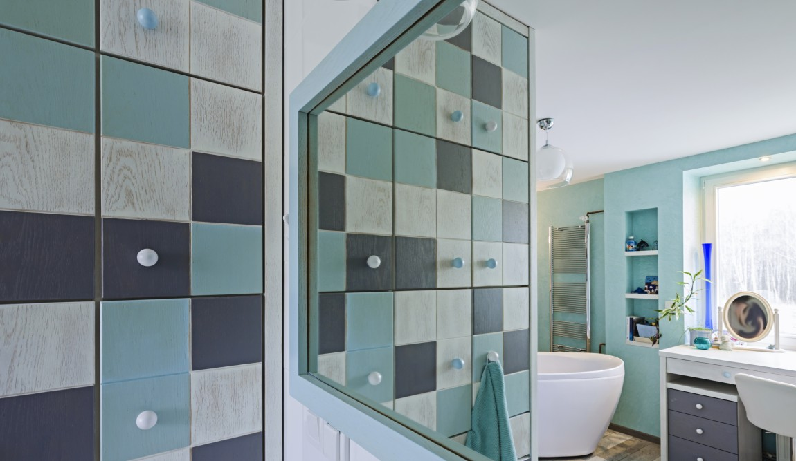 lustro, portfolio, łazienka, projektowanie wnętrz, salon kąpielowy