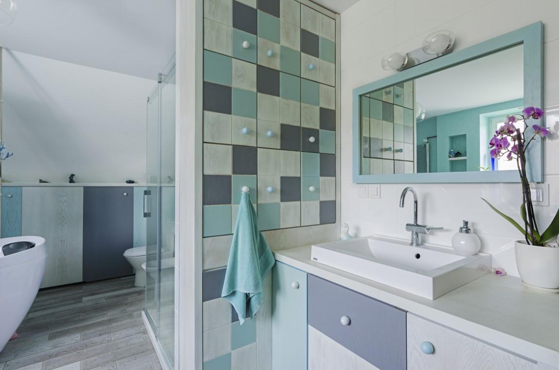 portfolio, łazienka, projektowanie wnętrz, niebiesko, salon kąpielowy