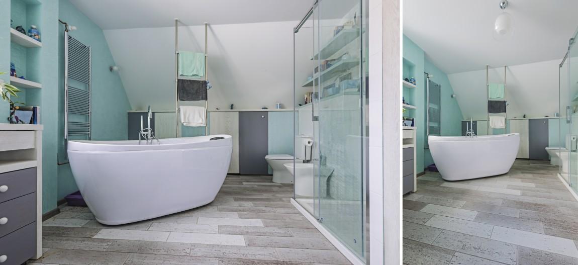 błękitno, salon kąpielowy, portfolio, łazienka, projektowanie wnętrz