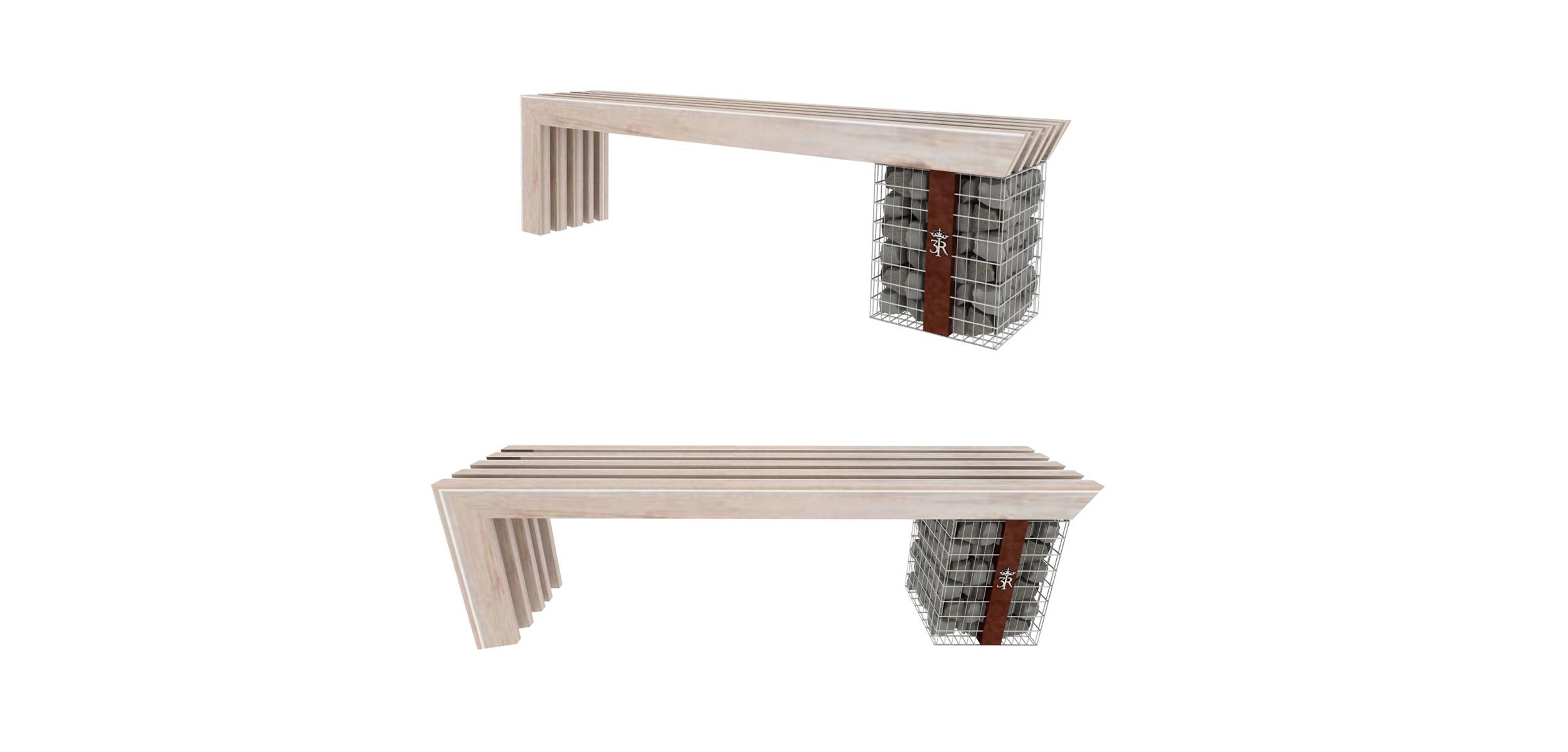 ławka uliczna, portfolio, szlak jana III sobieskiego, jIIIs, mała architektura, spiczyn, ławka uliczna