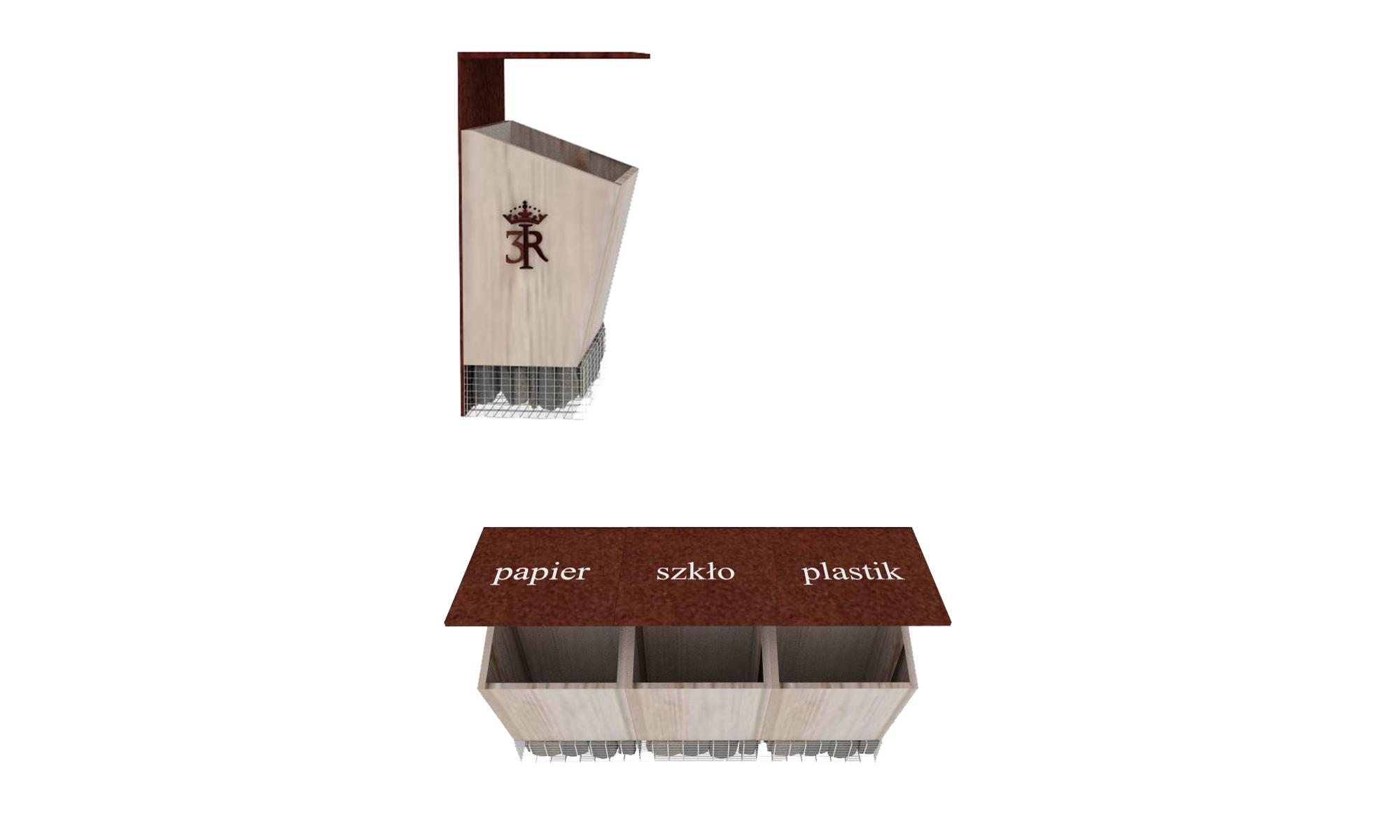 kosz na śmieci, portfolio, szlak jana III sobieskiego, jIIIs, mała architektura, spiczyn,