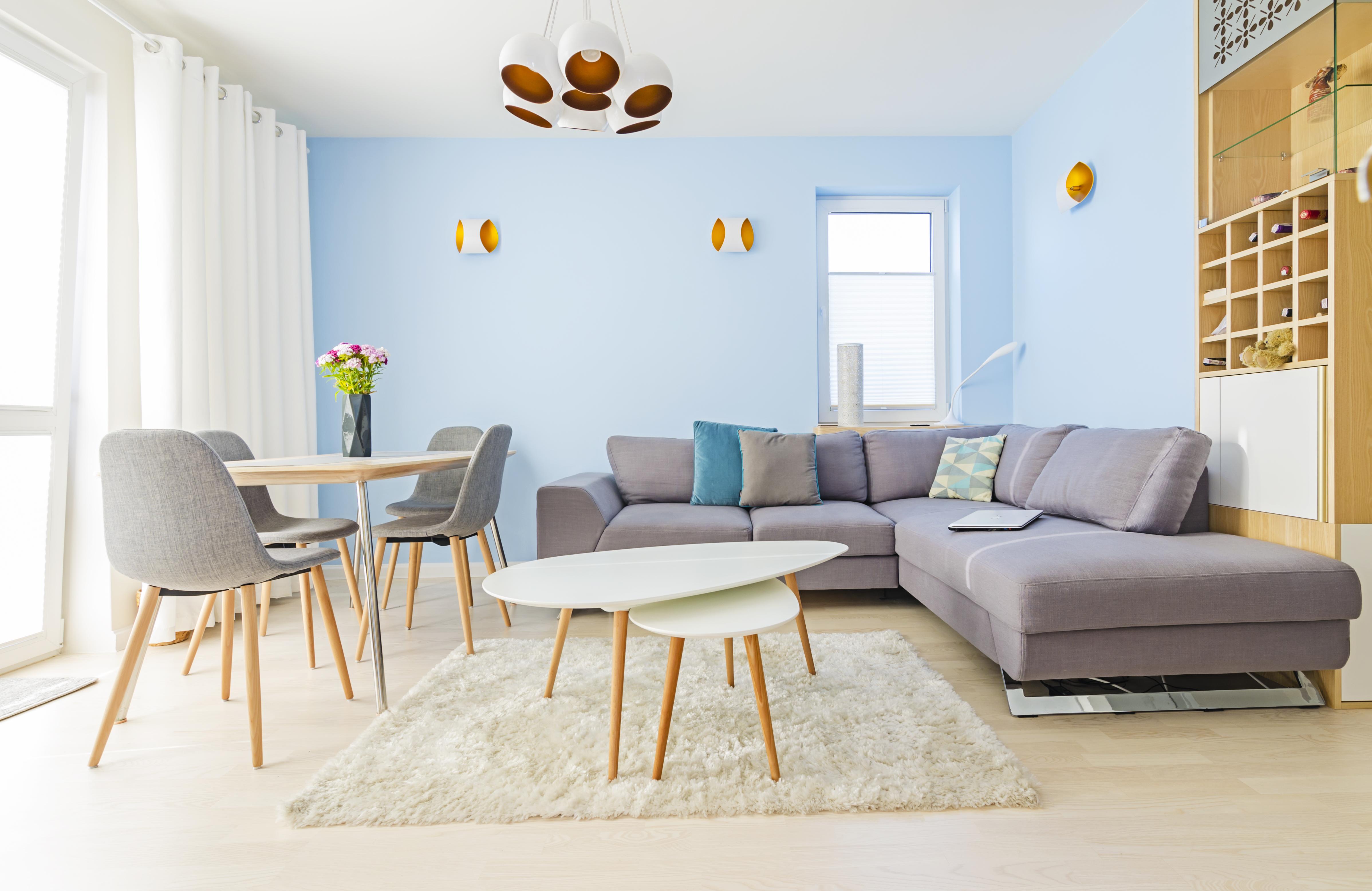 niebieski, złoto i srebro, portfolio, laurowa, mieszkanie, projektowanie wnętrz