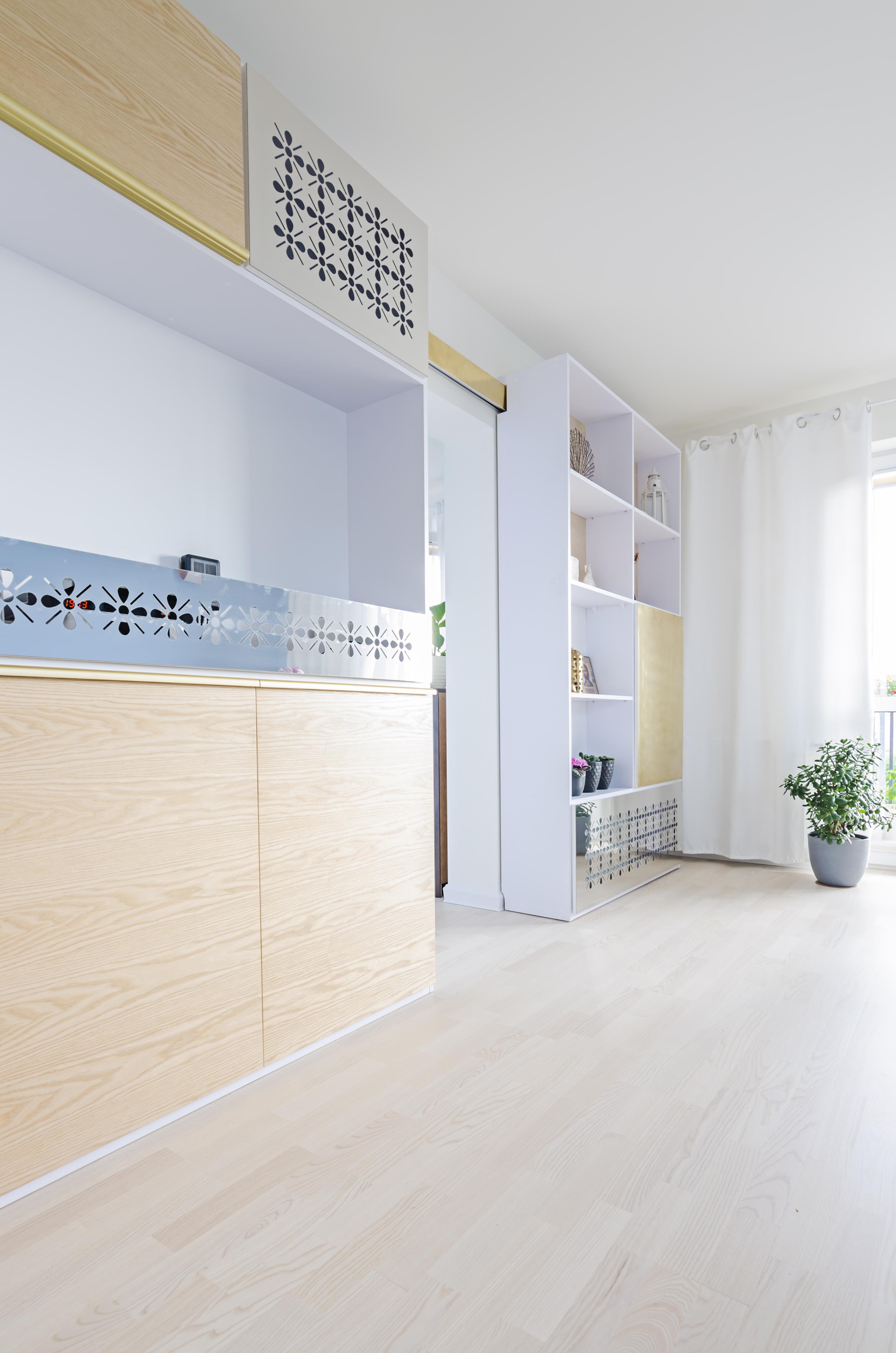 otwarte, złoto i srebro, portfolio, laurowa, mieszkanie, projektowanie wnętrz