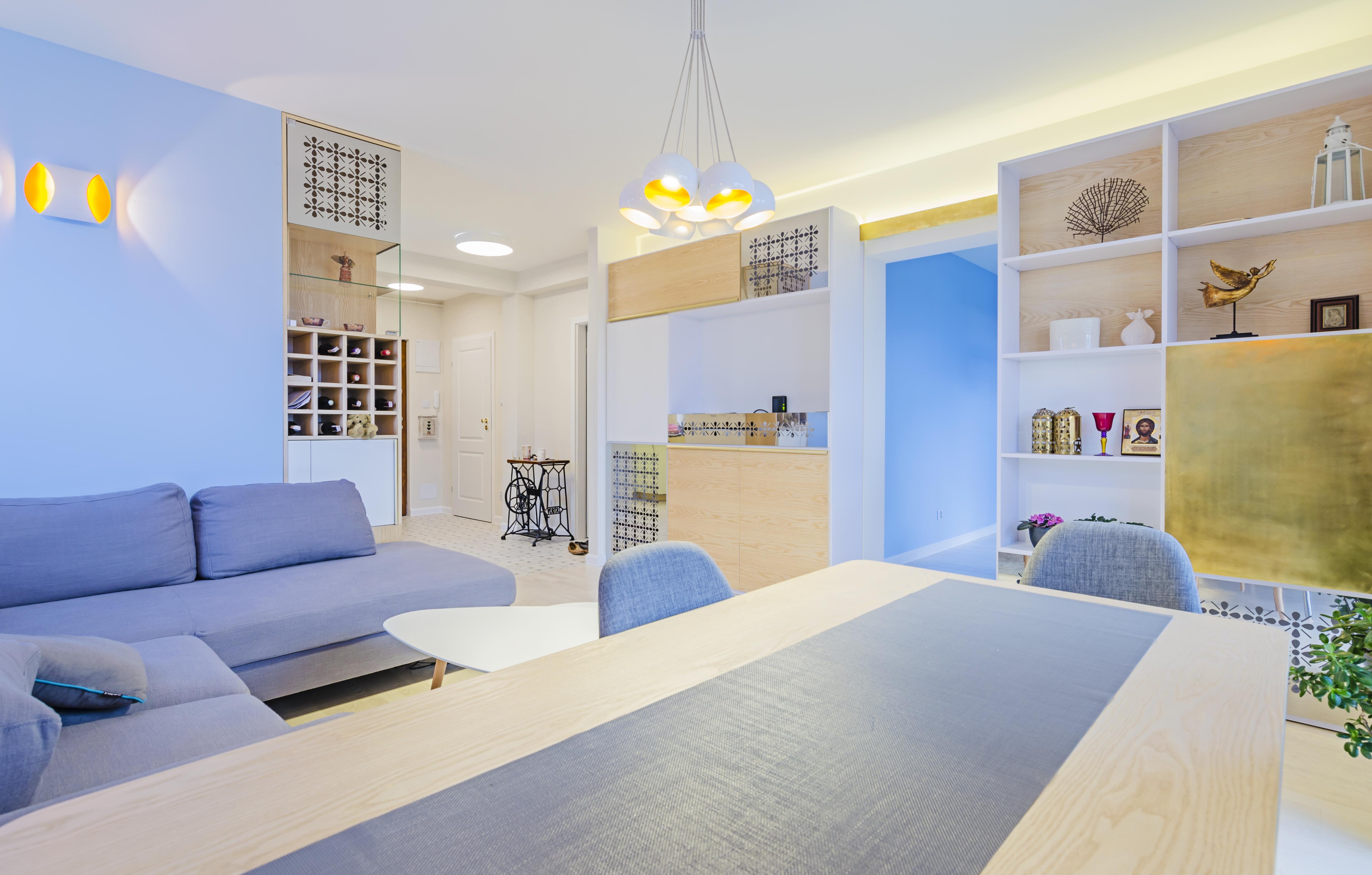 stół, złoto i srebro, portfolio, laurowa, mieszkanie, projektowanie wnętrz, łazienka