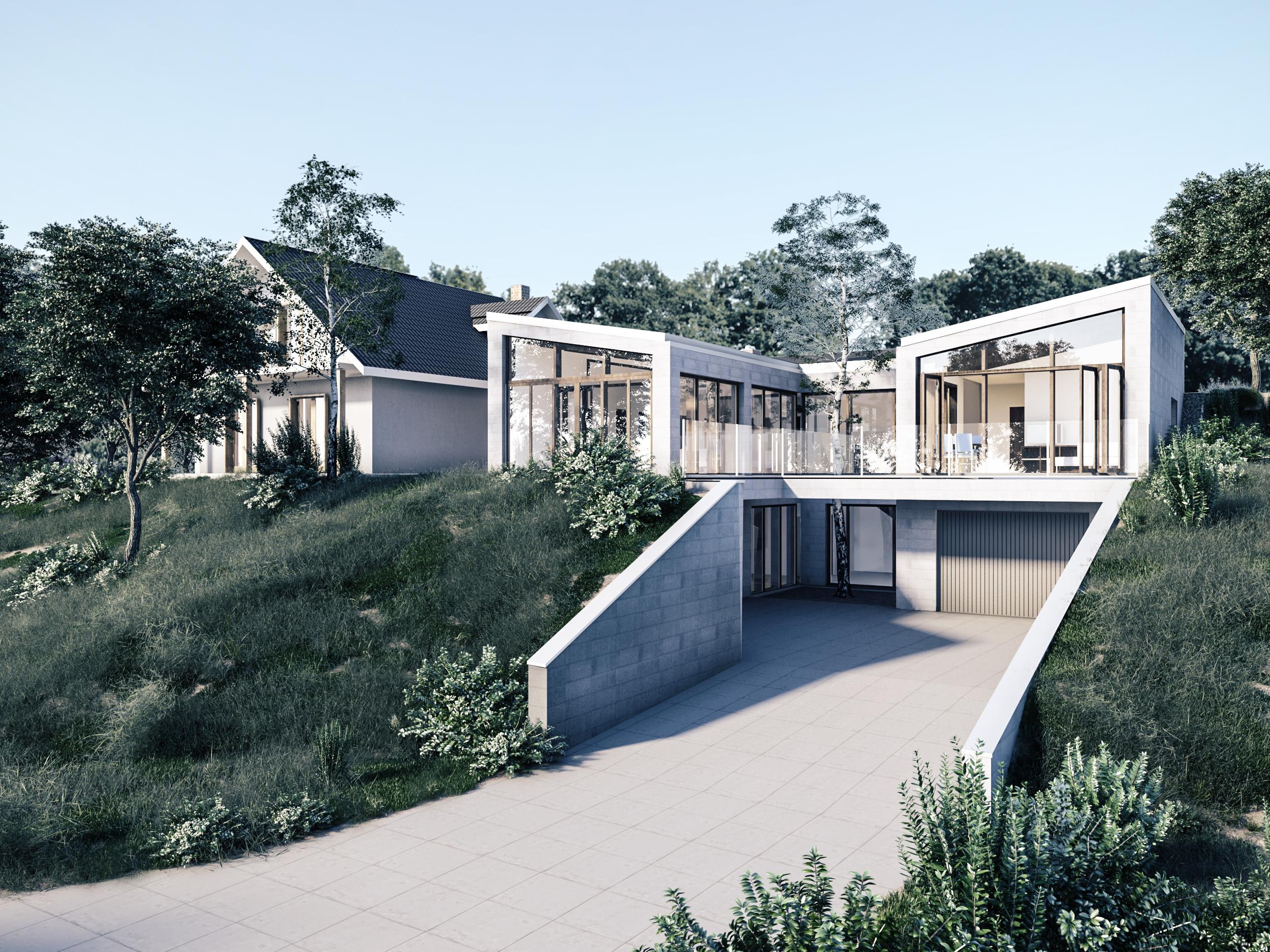 portfolio, dom w skarpie, dom jednorodzinny, lublin, wizualizacja